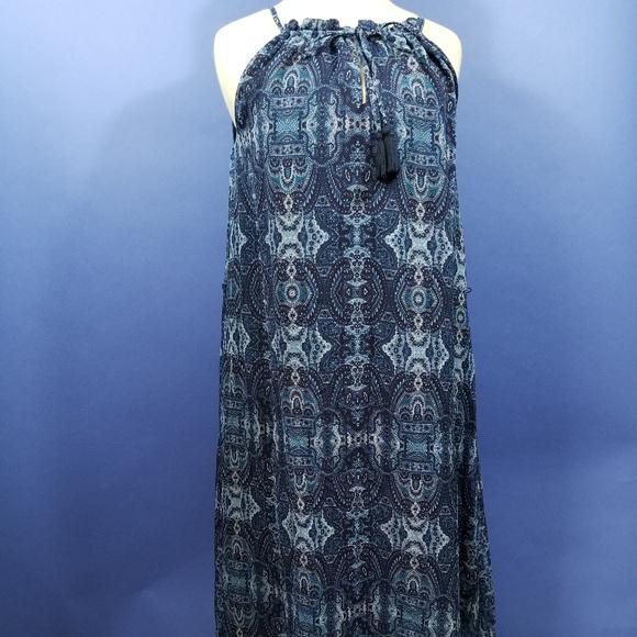 Lucky Brand Hippy BOHO Blue Print Dress Halter